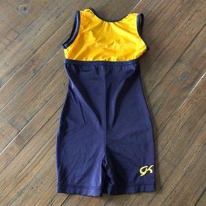 GK Elite size CM navy & gold gymnastics leotard